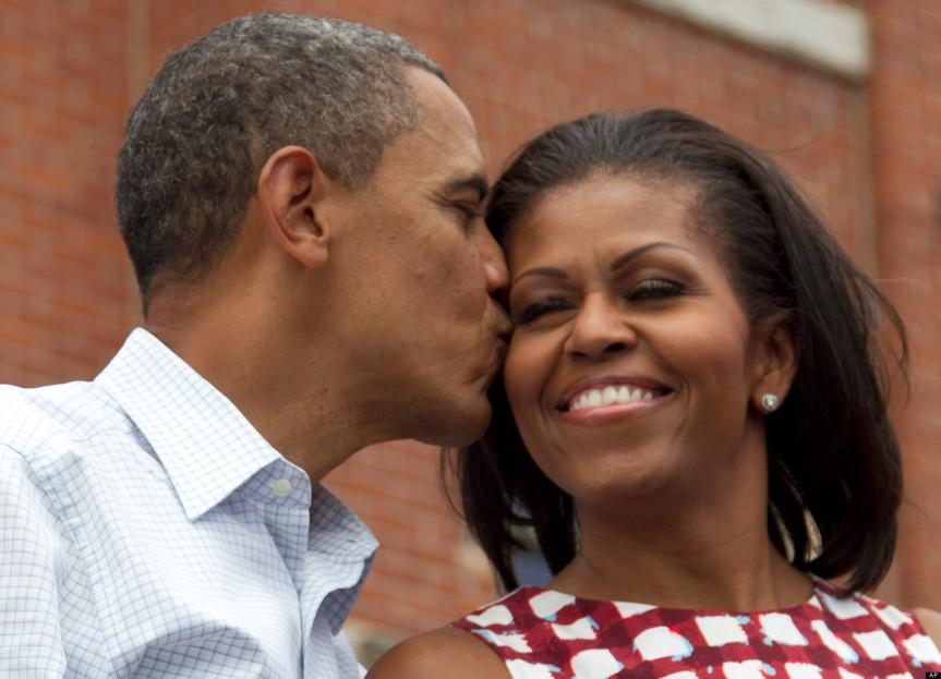 Image result for obama kissing wife